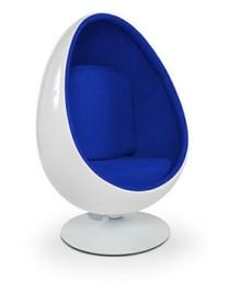 Fotel OVALIA - biały/niebieski