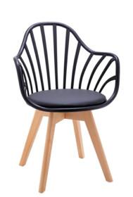 Fotel ALBERT ARM - czarny/drewno bukowe
