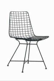 Krzesło WIRE czarne - metal, skóra ekologiczna
