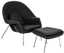 Fotel COZY z podnóżkiem - grafitowy