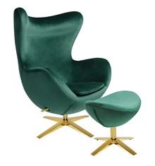 Fotel EGG SZEROKI VELVET GOLD z podnóżkiem - ciemny zielony