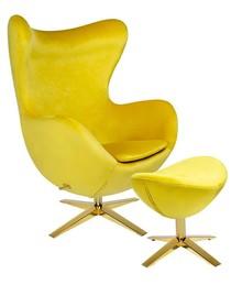 Fotel EGG SZEROKI VELVET GOLD z podnóżkiem - żółty