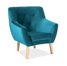 FOTEL NORDIC 1 VELVET KOLOR TURKUS TAPICERKA BLUVEL 85
