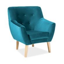 Fotel NORDIC 1 velvet - turkusowy Bluvel 85