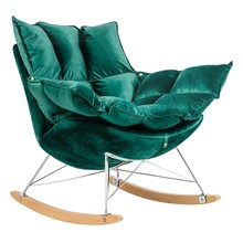 Fotel bujany SWING VELVET - ciemny zielony/chrom
