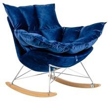 Fotel bujany SWING VELVET - ciemny niebieski/chrom