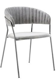Krzesło MARGO SILVER jasno szare - welur, podstawa chromowana