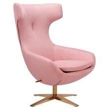 Fotel FIN VELVET jasny róż  - welur, podstawa miedziana