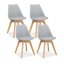Zestaw 4x krzesło KRIS - jasny szary/buk