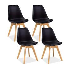 Zestaw 4x krzesło KRIS - czarny/buk