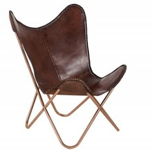 Fotel BUTTERFLY brązowy - skóra naturalna/miedziany stelaż