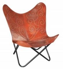 Fotel BUTTERFLY jasnobrązowy - skóra naturalna/czarny