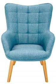 Fotel SCANDINAVIA niebieski - tkanina, drewno