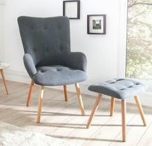 Fotel z podnóżkiem SCANDINAVIA  - tkanina, drewno