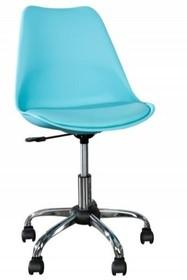 Fotel biurowy SCANDINAVIA II turkusowy - skóra ekologiczna, chrom
