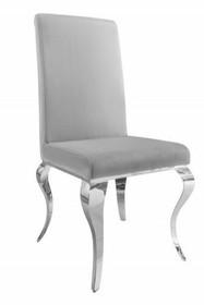 Krzesło MODERN BAROCK 106 szare - aksamit, stal nierdzewna