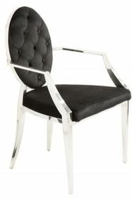 Krzesło MODERN BAROCK ARM czarne - aksamit, stal nierdzewna