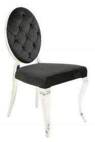 Krzesło MODERN BAROCK czarne - aksamit, stal nierdzewna