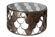 Stolik kawowy ABSTRACT 70 antik - rybia łuska, szkło, metal