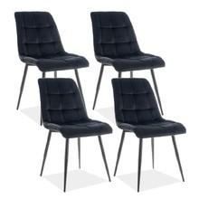 Zestaw 4x krzesło CHIC VELVET - czarny Bluvel 19