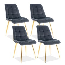 Zestaw 4x krzesło CHIC VELVET - złoty/czarny Bluvel 19
