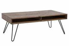 Stolik kawowy SCORPION 110 cm - szara akacja, drewno naturalne, metal