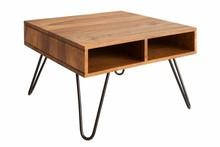 Stolik kawowy SCORPION 60cm  - sheesham, lite drewno, metal