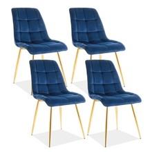 Zestaw 4x krzesło CHIC VELVET - złoty/granatowy Bluvel 86