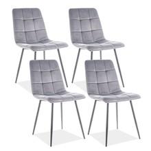 Zestaw 4x krzesło MILA VELVET - szary Bluvel 14