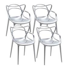 Zestaw 4x krzesło LUXO - srebrny