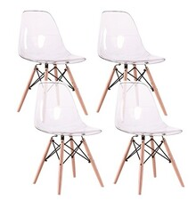 Zestaw 4x krzesło ICE WOOD - transparentny