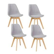 Zestaw 4x krzesło DIOR buk - jasny szary