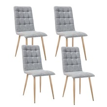 Zestaw 4x krzesło OTTO tkanina - dąb/szary