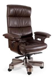 Obrotowy fotel skórzany LORD - brąz