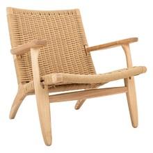 Fotel BOHO CORD natural  - drewno jesionowe, naturalne włókno