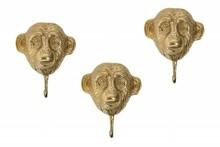 Zestaw wieszaków THREE APES 3 - złote, metal, aluminium