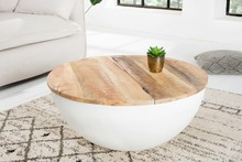 Stolik kawowy INDUSTRIAL STORAGE - 70 cm, mango, biały, aluminium