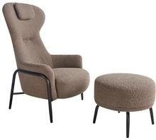 Fotel z podnóżkiem TEDDY GRAND - brązowy