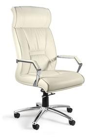 Fotel obrotowy CELIO skóra naturalna - biały