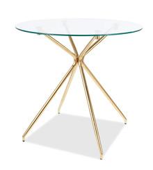 Stół okrągły szklany AZALIA 80 cm - transparentny/złoty