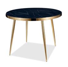 Stół okrągły CALVIN 100 cm - czarny efekt marmuru/złoty