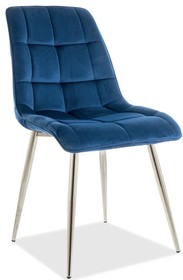 Krzesło CHIC CHROM Velvet - granatowy Bluvel 86