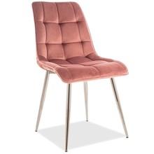 Krzesło CHIC CHROM Velvet - róż antyczny Bluvel 52