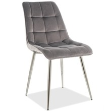 Krzesło CHIC CHROM Velvet - szary Bluvel 14