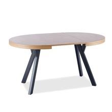 Stół okrągły rozkładany DOMINGO 100cm - okleina naturalna dąb/czarny