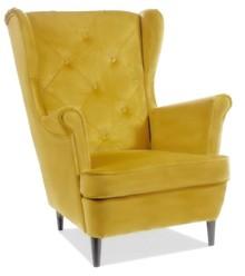 Fotel uszak LADY MATT VELVET - żółty