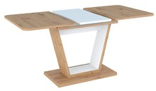 Stół rozkładany NIGEL 120/160x80 - dąb artisan/biały mat