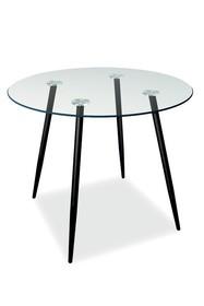 Stół okrągły szklany NINO II 90 cm - transparentny/czarny