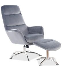 Fotel z podnóżkiem NIXON Velvet - szary Bluvel 14