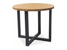Stół okrągły ROLF LAMINAT 90 cm - dąb/czarny